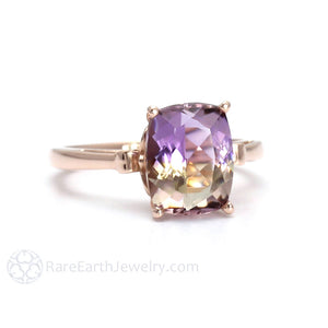 Cushion Ametrine Ring 14K Rose Gold Rare Earth Jewelry