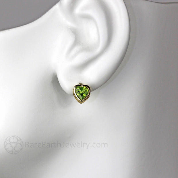 Rare Earth Jewelry 14K Heart Shaped Peridot Earrings Post Back Studs