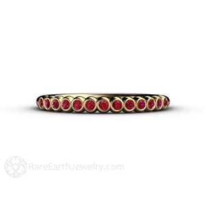 Rare Earth Jewelry Ruby Ring Round Cut Bezel Stacking Band 14K