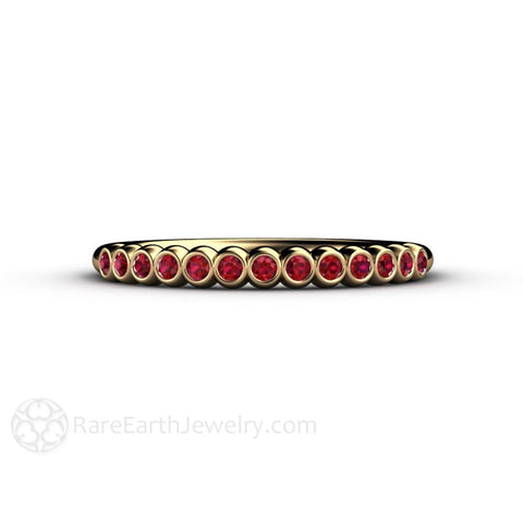 Tiny Bubbles Ruby Ring or Stacking Band July Birthstone