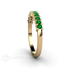 Round Cut Green Garnet Stackable Band Rare Earth Jewelry