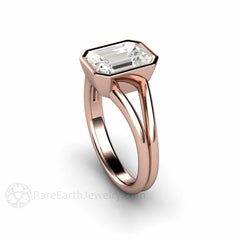 Split Shank Bezel Set White Sapphire Bridal Ring Rose Gold Rare Earth Jewelry