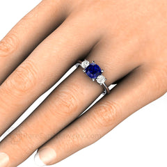 Cushion Blue Sapphire and Moissanite Right Hand Ring on Finger Rare Earth Jewelry