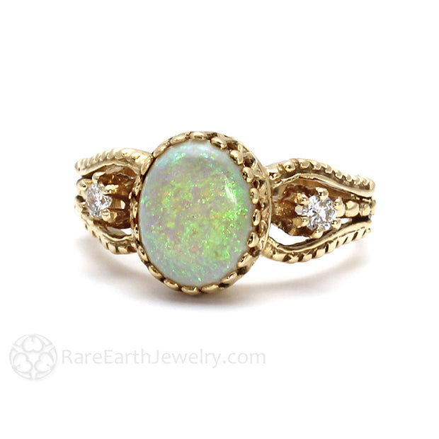 Rare Earth Jewelry Oval Opal Ring with Diamond Side Stones Vintage Style