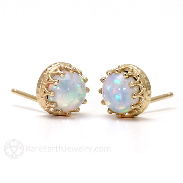 Cabochon Natural Opal Earrings with Stud Posts 14K Gold Rare Earth Jewelry
