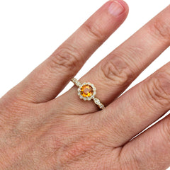 Orange Sapphire Halo Ring on Finger Rare Earth Jewelry