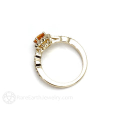 Round Cut Orange Sapphire Diamond Halo Ring Rare Earth Jewelry