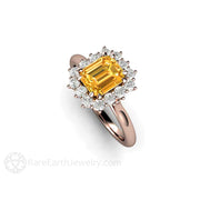 14K Rose Gold Cocktail Ring Orange Yellow Sapphire Diamond Halo Rare Earth Jewelry