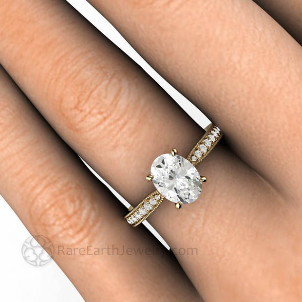 Oval Forever One Moissanite Solitaire Ring on the Finger