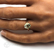 Feminine Engagement Rings Pastel Green Natural Gemstone Hand Photo