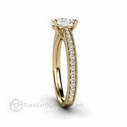 Oval Moissanite Ring Pave Diamonds Classic 4 Prong