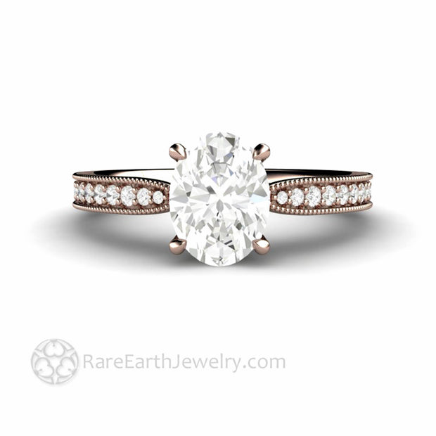 Oval Moissanite Ring in Rose Gold Vintage Design With Diamonds Milgrain