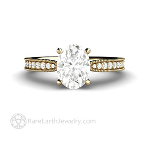 Oval Moissanite Solitaire Engagement Ring Vintage Inspired