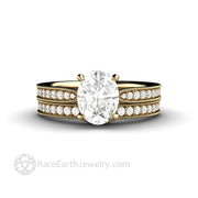 Oval Moissanite Wedding Set in Vintage Style Setting