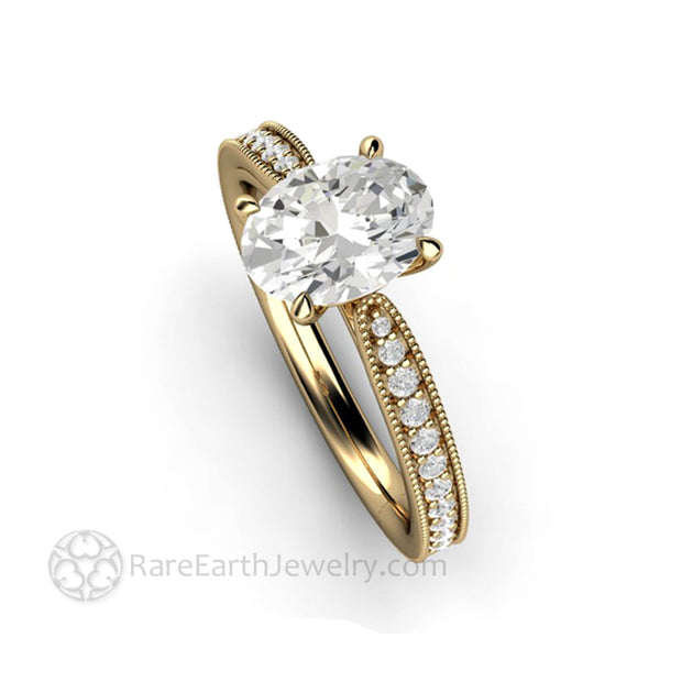 Oval Solitaire Engagement Ring With Moissanite Ethical Diamond Alternative