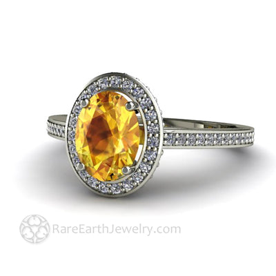 Oval Yellow Sapphire Anniversary Ring Diamond Accent Stones 14K White Gold - Rare Earth Jewelry