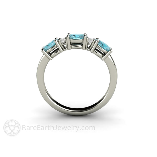 East West Bands: Blue Zircon And Diamond Ring Oval Cut East West Design