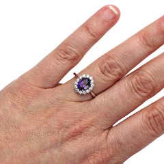 Rare Earth Jewelry Oval Amethyst Cluster Halo Right Hand Ring on Finger