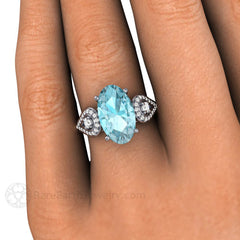 Large Oval Aquamarine 3 Stone Ring on Finger Rare Earth Jewelry