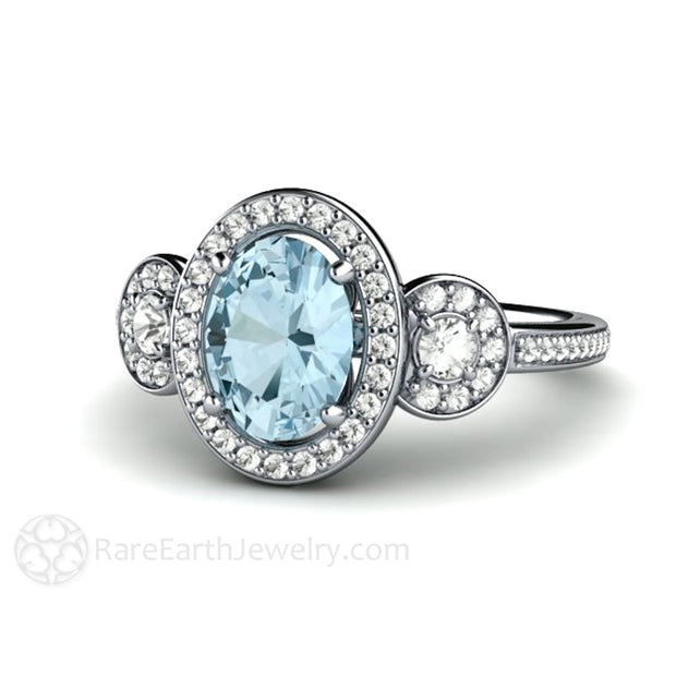 Rare Earth Jewelry Oval Aquamarine Halo Ring