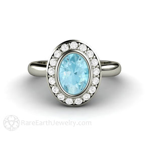 Rare Earth Jewelry Oval Cut Aquamarine Ring Diamond Halo Bezel Setting 14K or 18K Gold