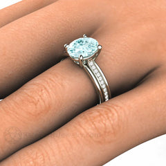 Oval Cut Aquamarine Ring with Diamonds Rare Earth Jewelry