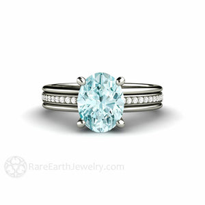 Rare Earth Jewelry Oval Solitaire Aquamarine Engagement Ring