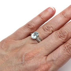 Oval Cut Aquamarine Ring on Finger Rare Earth Jewelry