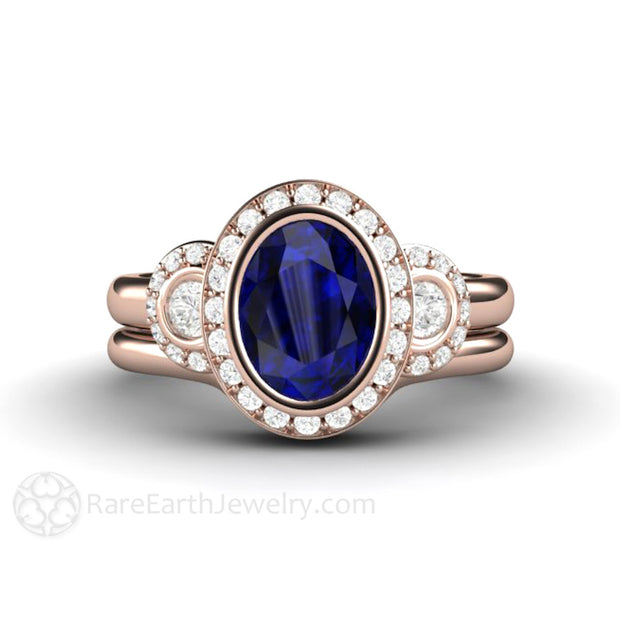 Rare Earth Jewelry Rose Gold Blue Sapphire Bridal Wedding Set Oval Halo Engagement