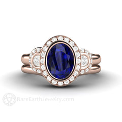 Rose Gold Blue Sapphire Bridal Wedding Set Oval Halo Engagement Rare Earth Jewelry