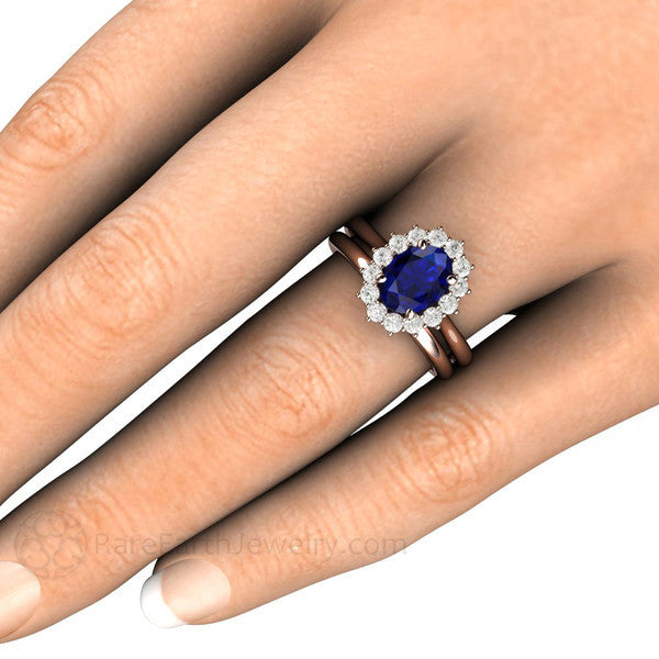 Rare Earth Jewelry Oval Blue Sapphire Wedding Ring Bridal Set on Finger Diamond Halo