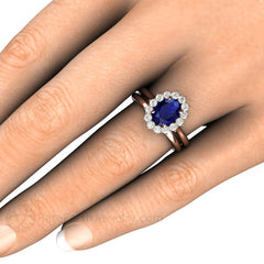Oval Blue Sapphire Wedding Ring Bridal Set on Finger Rare Earth Jewelry