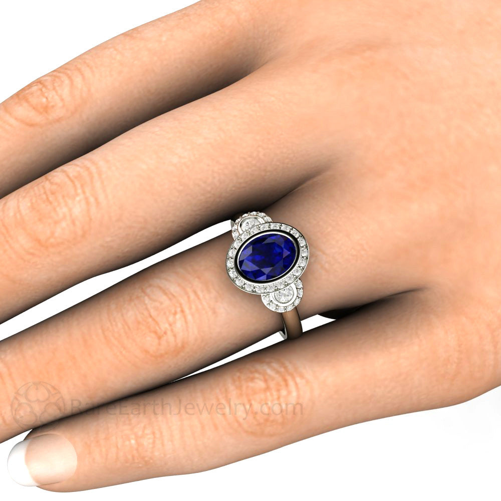 Are Wedding Rings Worn On The Right Hand: Blue Sapphire Bridal Wedding Ring Oval Antique 3 Stone