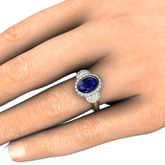 Oval Blue Sapphire Halo 3 Stone Right Hand Ring on Finger Rare Earth Jewelry