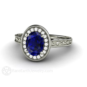 Rare Earth Jewelry Art Deco Oval Blue Sapphire Engagement Ring Filigree Engraved Setting