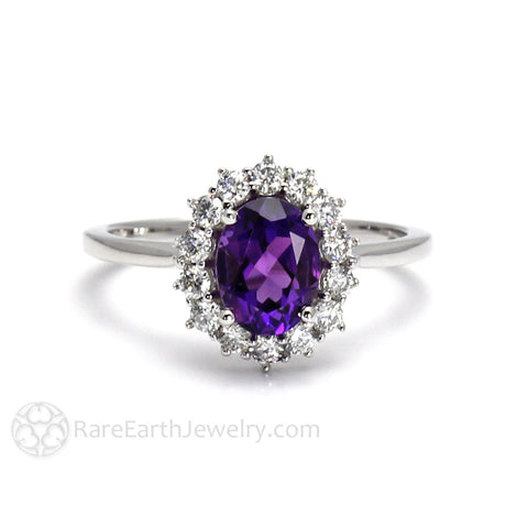 Oval Cluster Amethyst Ring with Diamond Halo February Birthstone