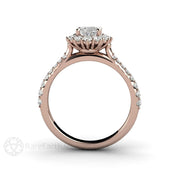 Rare Earth Jewelry 1 Carat Forever One Moissanite Oval Cut Pave Halo