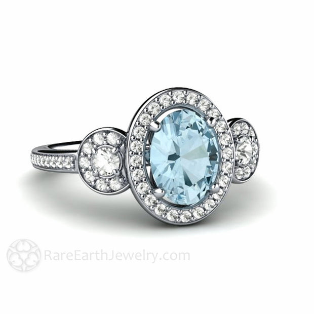 Oval Cut Aquamarine Halo Ring 14K White Gold Diamond Accent Stones Rare Earth Jewelry