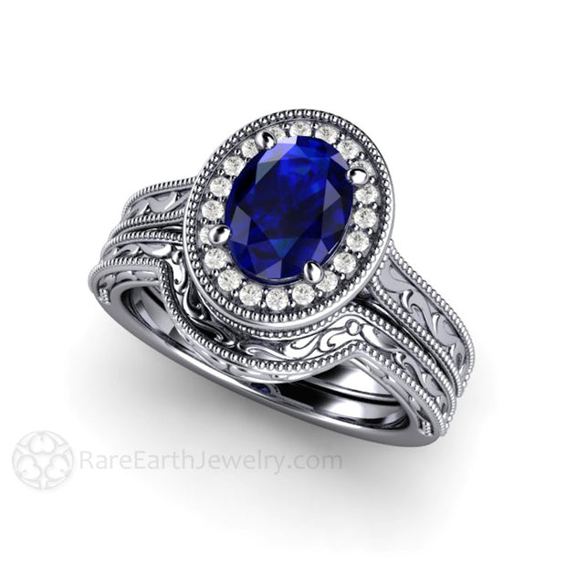 Platinum Royal Blue Oval Sapphire Wedding Band and Engagement Ring Set Vintage Art Deco Style Rare Earth Jewelry