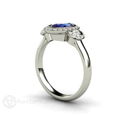 Rare Earth Jewelry Oval Cut Blue Sapphire Diamond Halo 3 Stone Ring 14K Gold