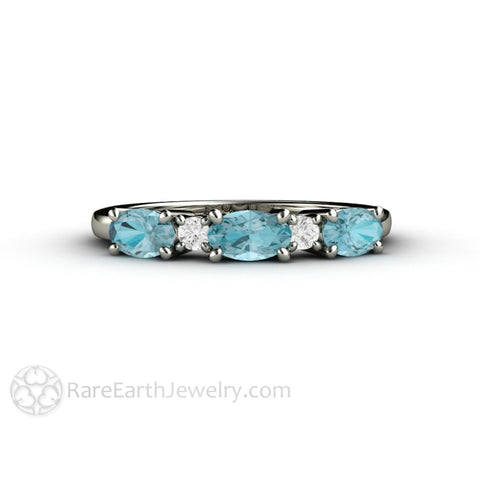 Blue Zircon and Diamond Ring East West Oval Cut Anniversary Band