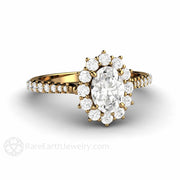 Rare Earth Jewelry 1 Carat Forever One Oval Moissanite Engagement Ring 18K Gold