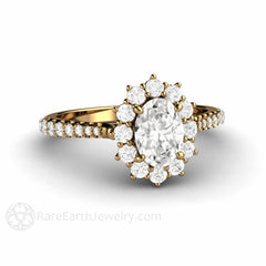 1ct Oval Halo Engagement Ring Forever One Moissanite 18K Gold Rare Earth Jewelry