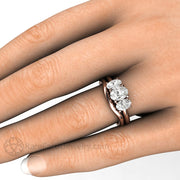 Rare Earth Jewelry Oval Cut Forever One Moissanite Bridal Set on Finger Three Stone Engagement
