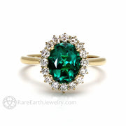 Rare Earth Jewelry Vintage Style Oval Cut Green Emerald Ring May Birthstone 14K or 18K Gold