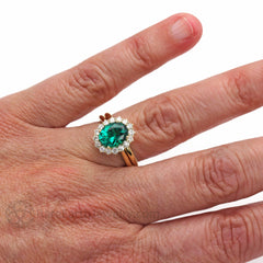 Rare Earth Jewelry Oval Emerald Bridal Set on Hand 14K Plain Band Diamond Halo Engagement