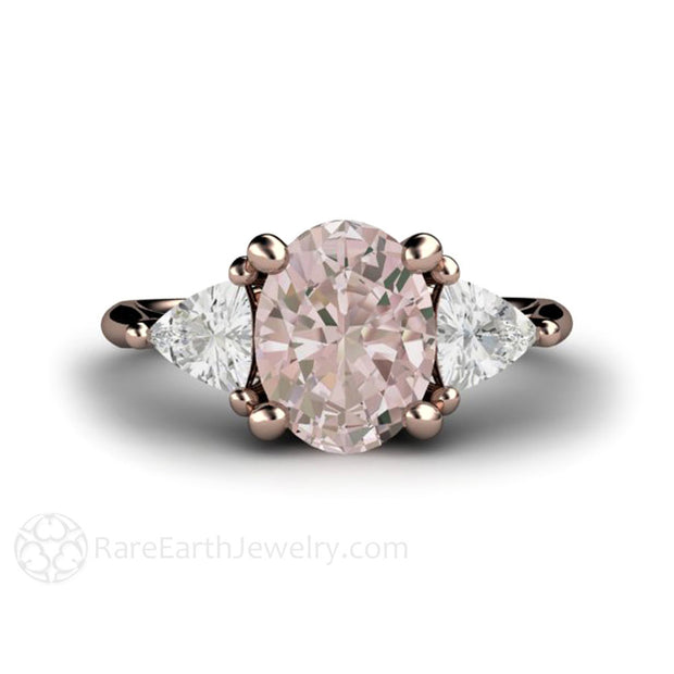 Oval Morganite Anniversary Ring with White Sapphire Accents Rare Earth Jewelry