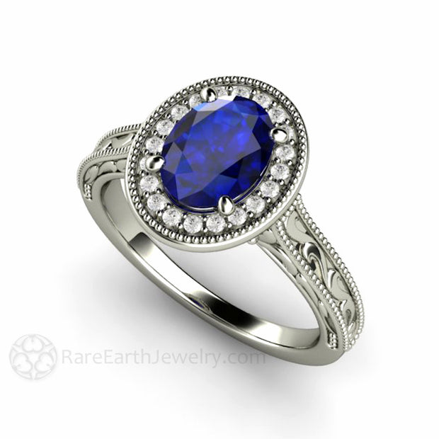 Oval Royal Blue Sapphire Solitaire Engagement Ring Diamond Halo Vintage Style Rare Earth Jewelry