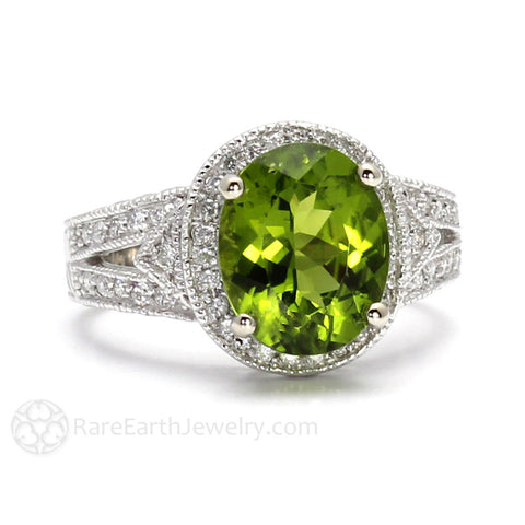 Peridot Ring Vintage Art Deco with Diamonds August Birthstone