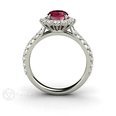 Oval Ruby Ring Cluster Halo Rare Earth Jewelry